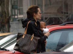Angelina Jolie shopping with her children Maddox and Zahara